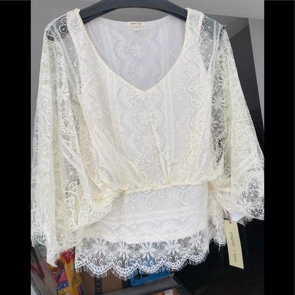 27bd168562 NWT Deb White Lace Top Size Medium